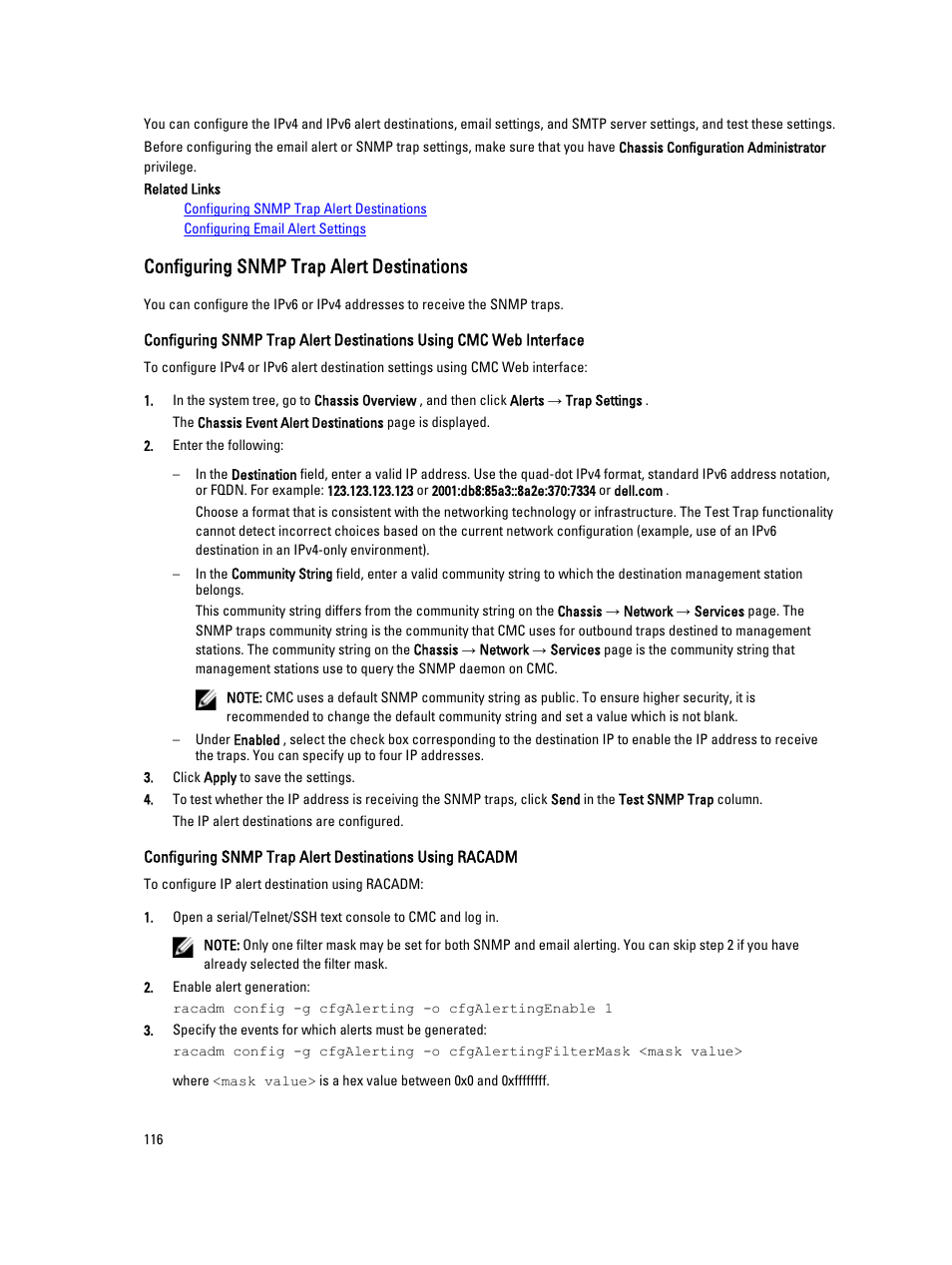 Configuring snmp trap alert destinations | Dell POWEREDGE