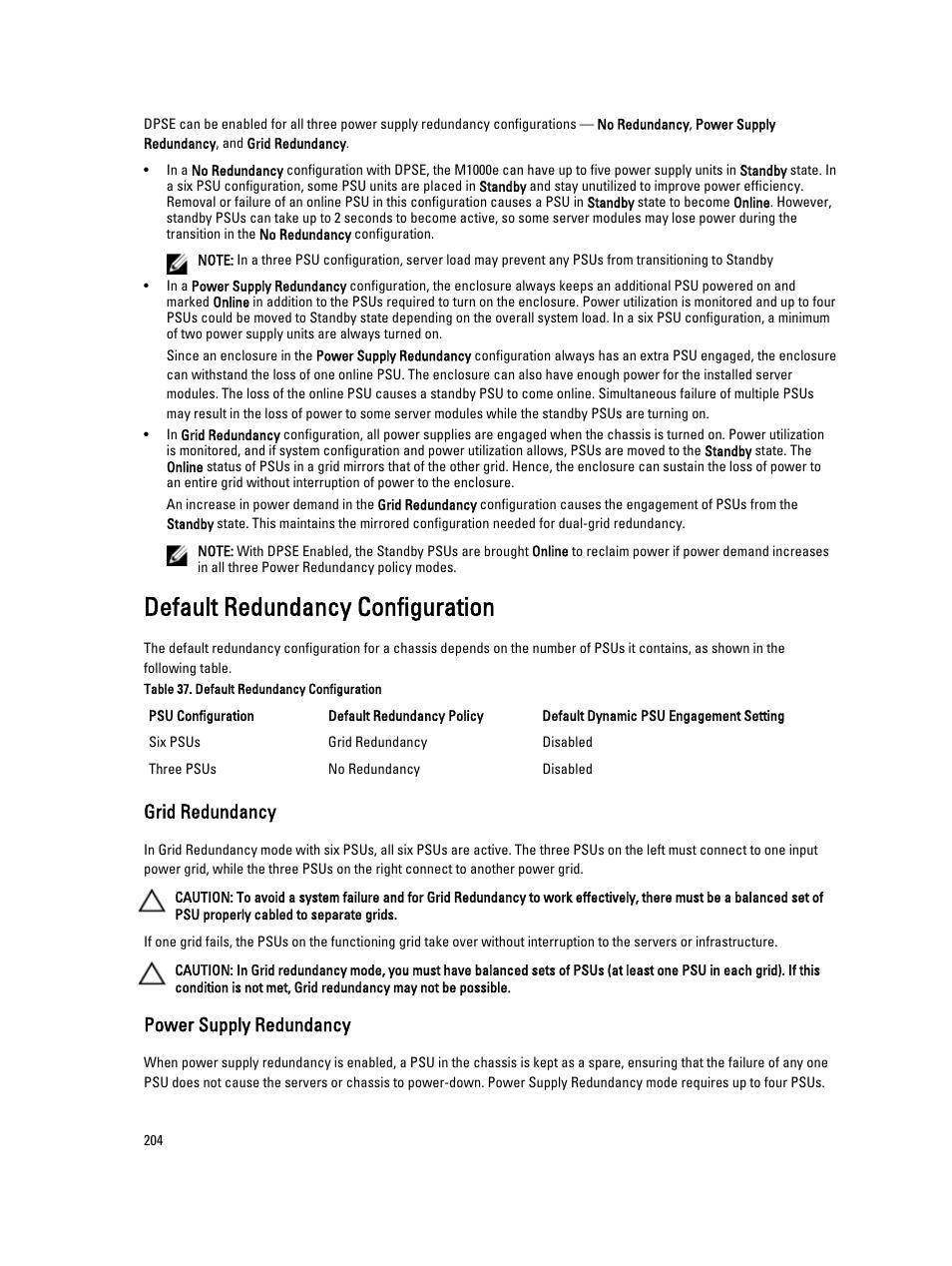 Default redundancy configuration, Grid redundancy, Power