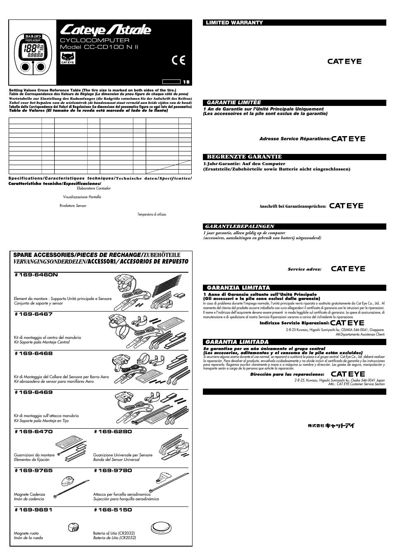 Cateye astrale cc-cd100 manual muscle