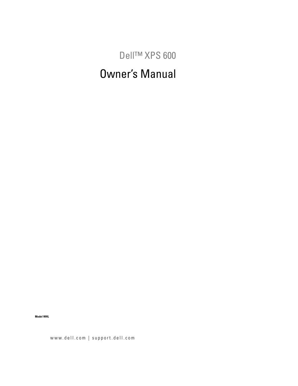 dell xps 600 user manual 166 pages rh manualsdir com Dell XPS WHL Computer Dell XPS WHL