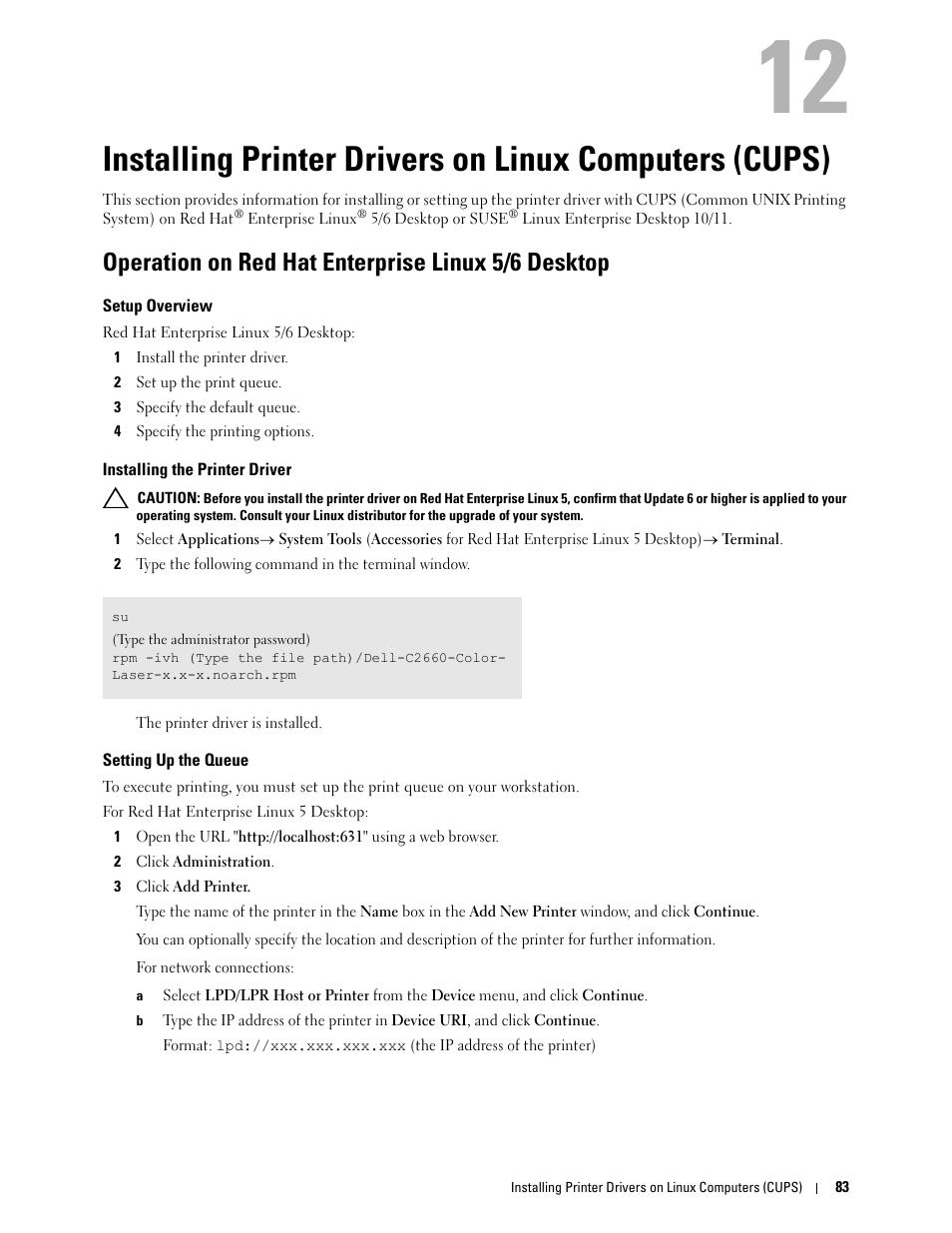 Operation on red hat enterprise linux 5/6 desktop, Setup overview