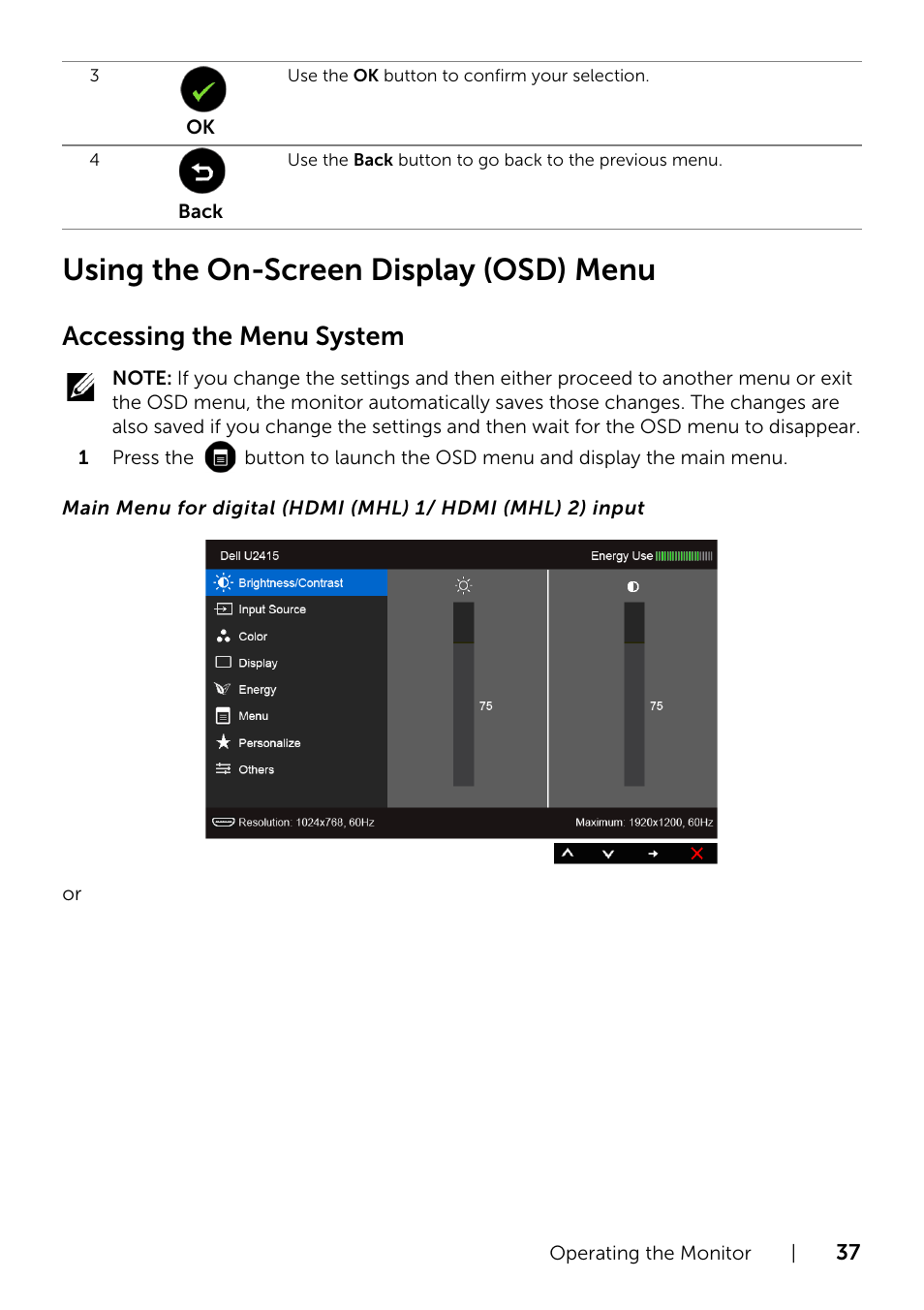 Using the on-screen display (osd) menu, Menu (see, Accessing the