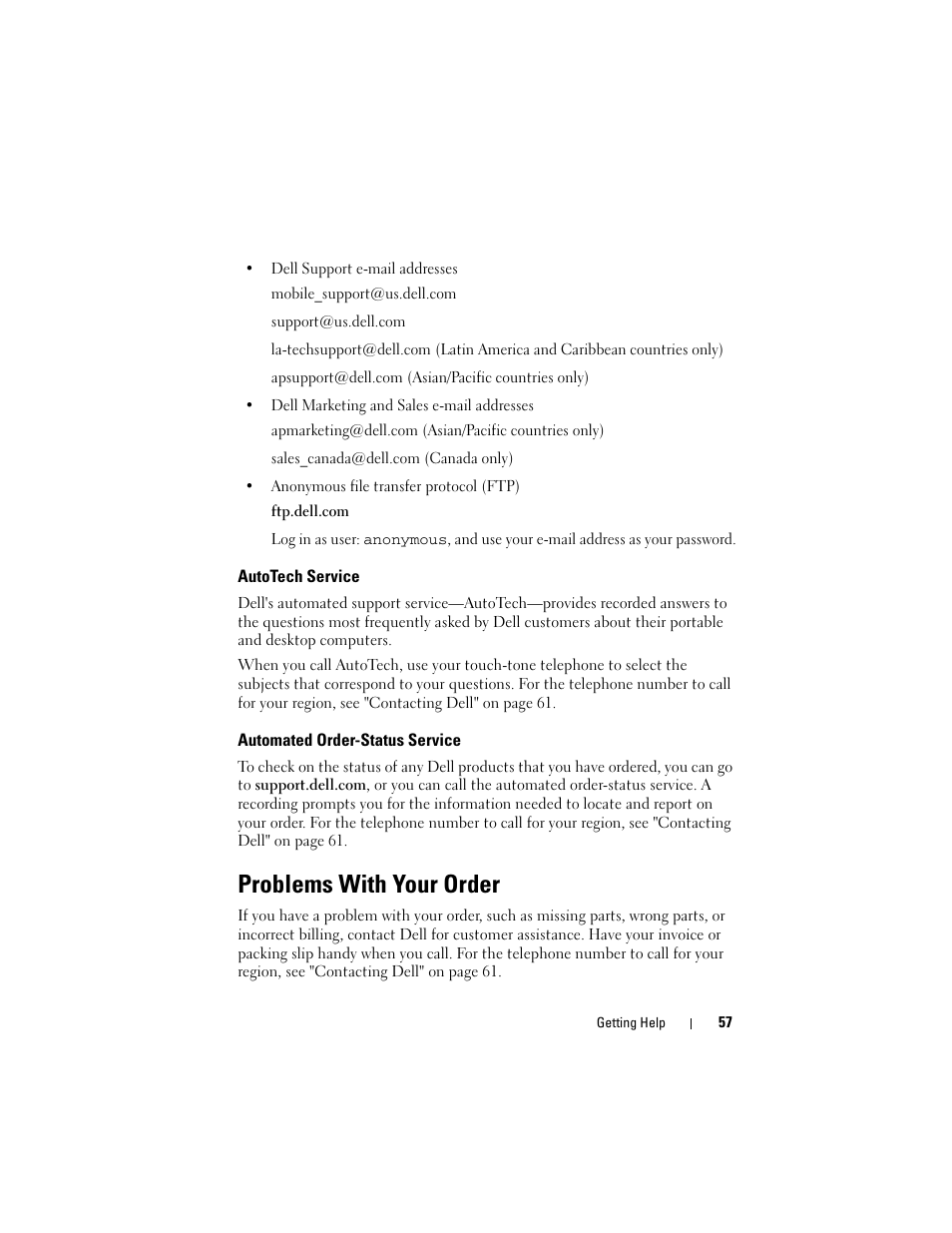 Problems with your order   Dell Latitude E5500 User Manual   Page 57