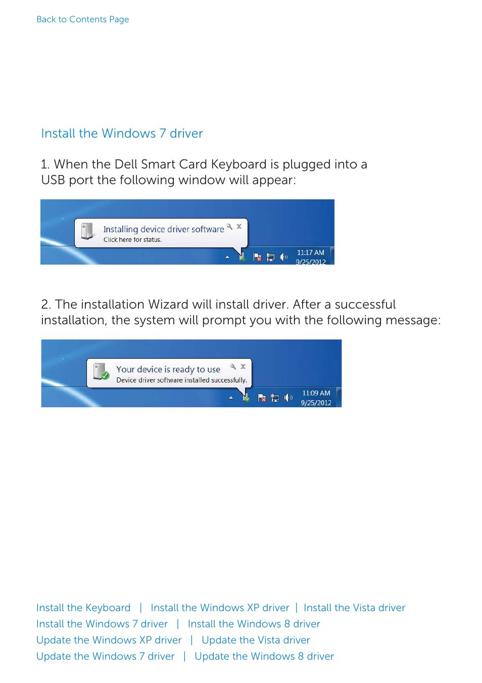 Install the windows 7 driver | Dell Smartcard Keyboard KB813 User
