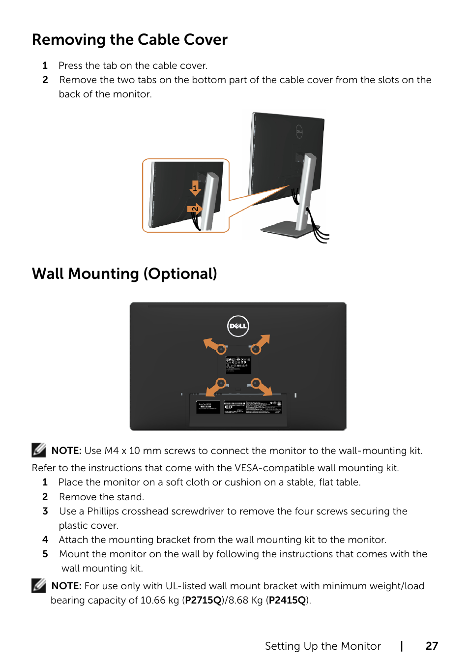 Removing the cable cover, Wall mounting (optional) | Dell