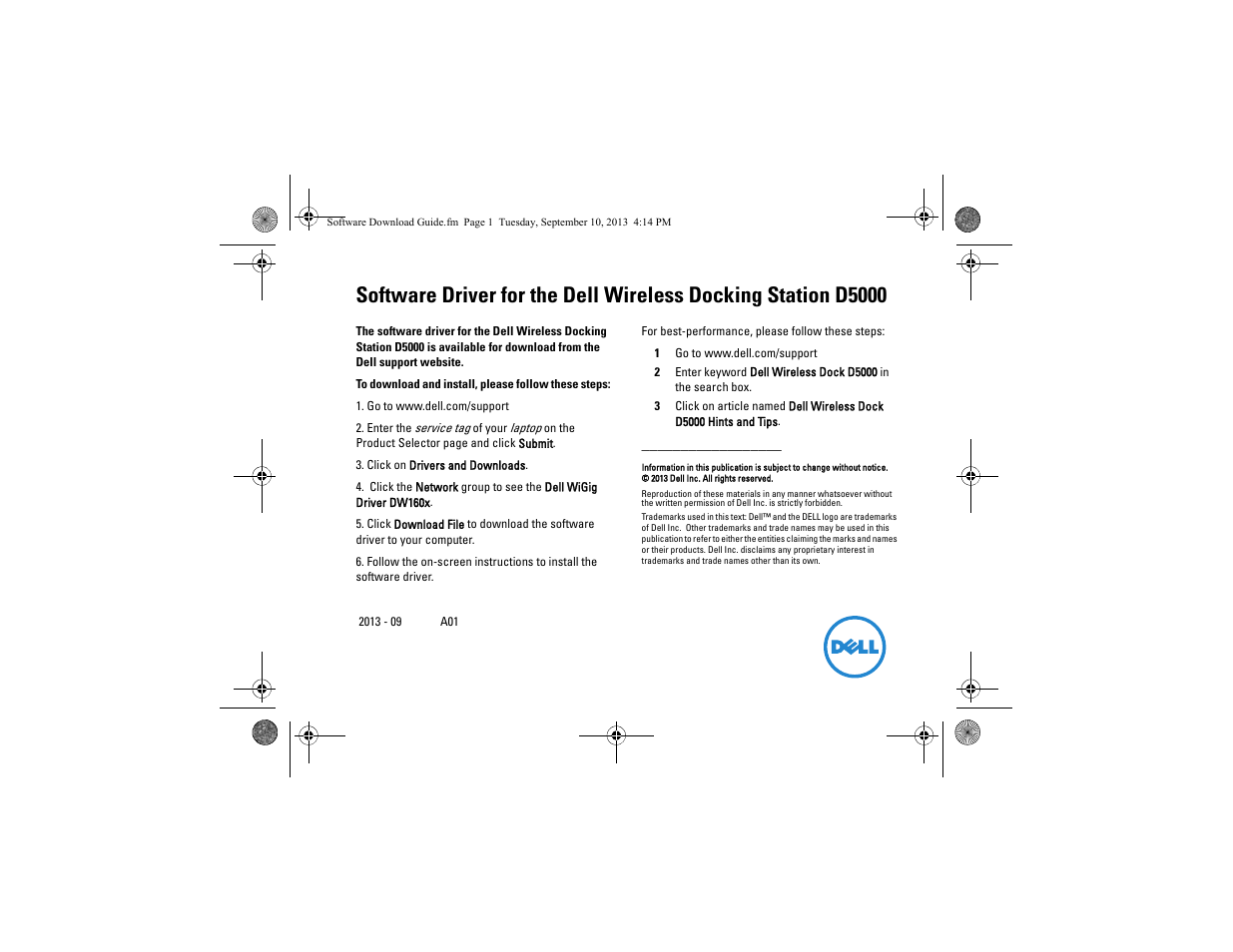 Dell Wireless Dock User Manual | 1 page