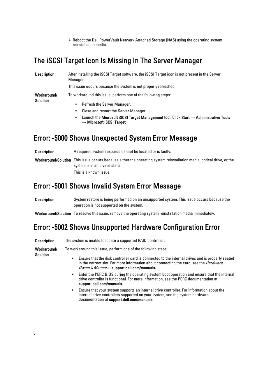 error 5000 shows unexpected system error message error 5001 rh manualsdir com Dell NX-3000 Dell PowerVault Storage