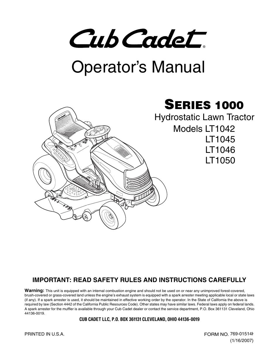 Array - cub cadet lt1042 user manual   40 pages   also for  lt1050      rh   manualsdir com
