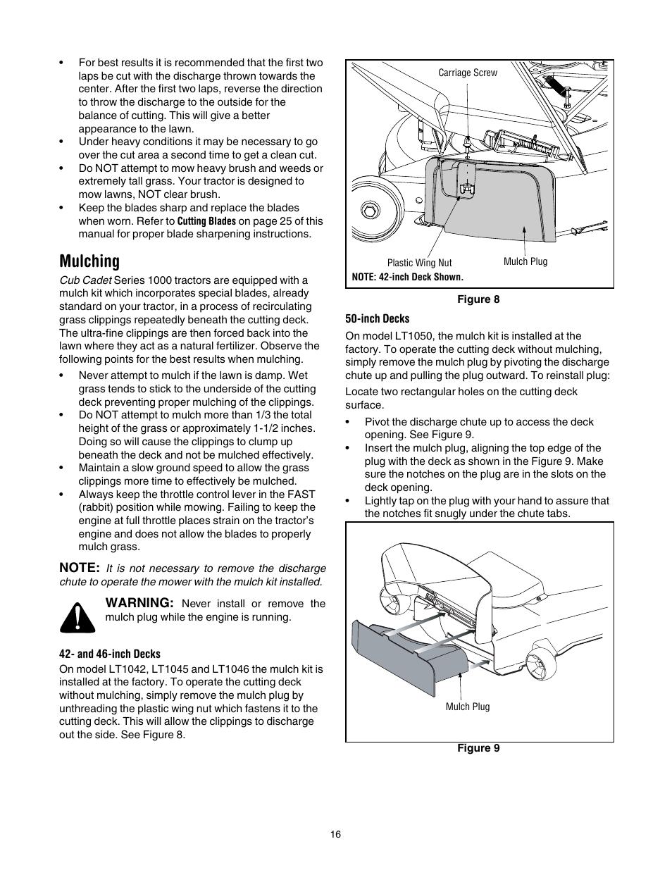 Mulching | Cub Cadet LT1042 User Manual | Page 16 / 40