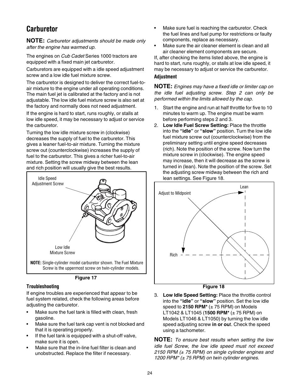 carburetor cub cadet lt1042 user manual page 24 40