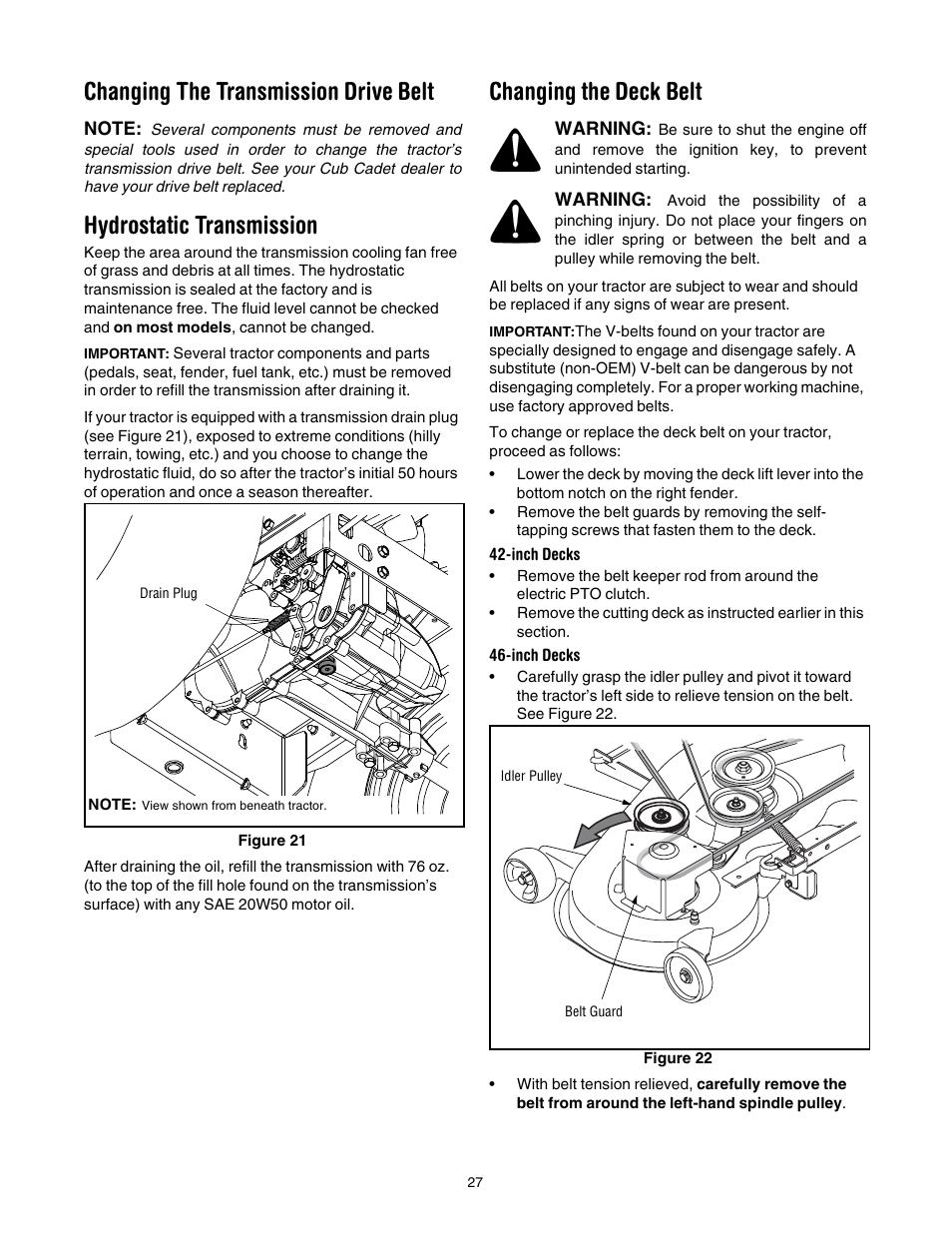 Changing the transmission drive belt, Hydrostatic