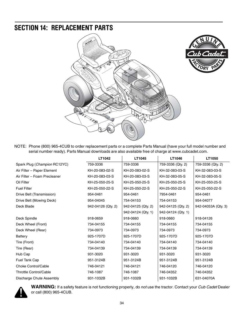 Section 14: replacement parts | Cub Cadet LT1042 User Manual | Page 34 / 40