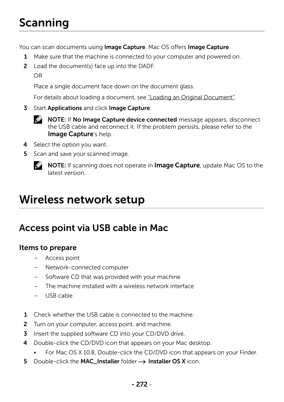 Scanning, Wireless network setup, Access point via usb cable in mac