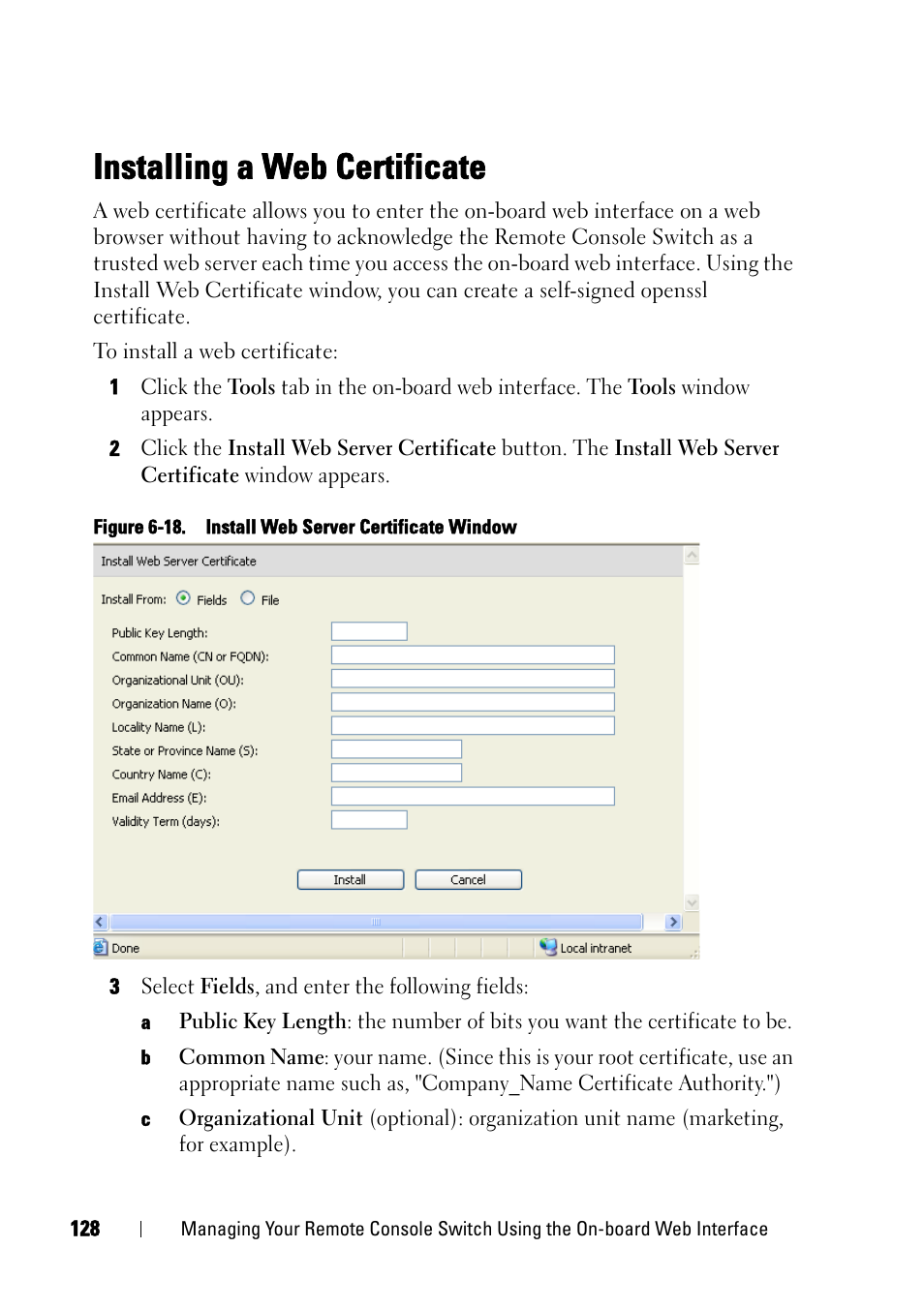 Installing A Web Certificate Dell Kvm 4161ds User Manual Page