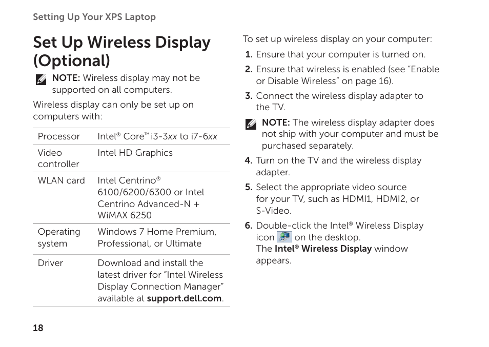Set up wireless display (optional) | Dell XPS 15 (L501X, Late 2010