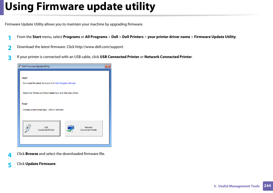 Using firmware update utility | Dell B1165nfw Multifunction