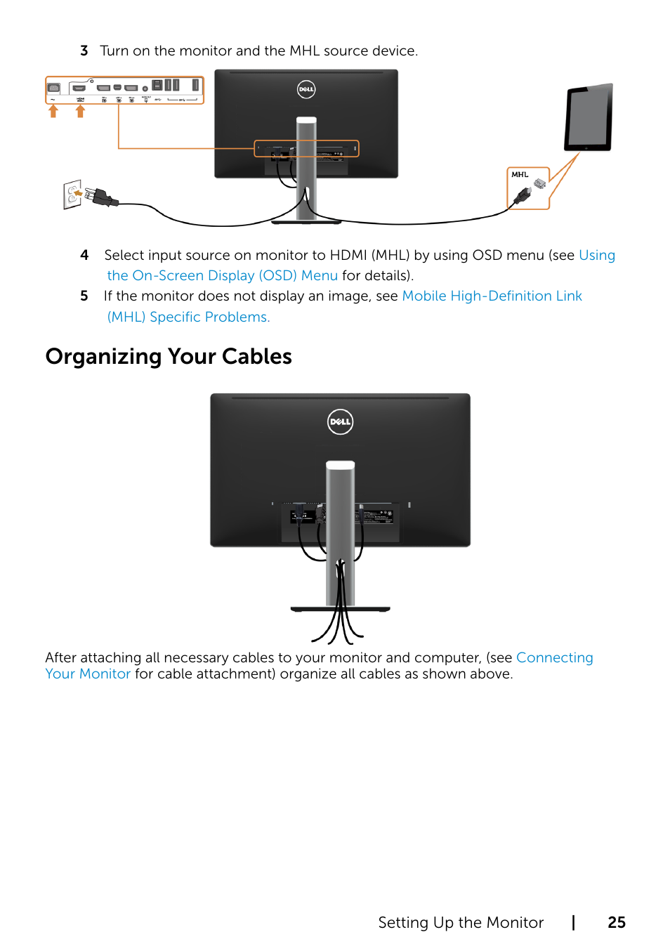 Organizing your cables | Dell P2715Q Monitor User Manual | Page 25 / 51