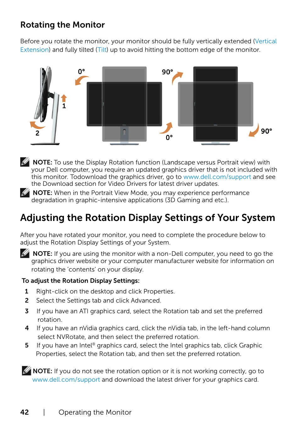 Rotating the monitor | Dell P2715Q Monitor User Manual | Page 42 / 51
