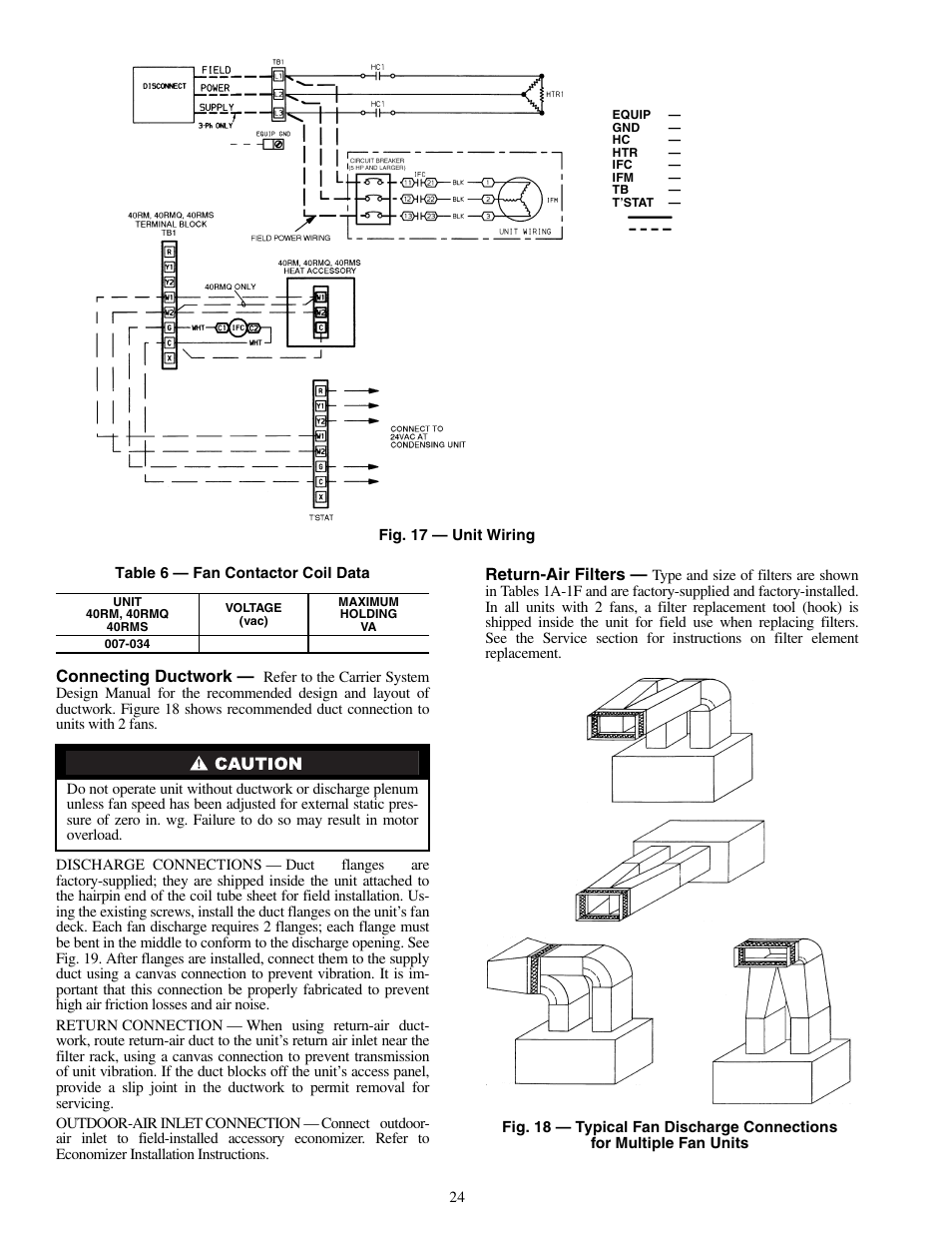 Connecting ductwork, Return-air filters   Carrier 40RMS008-034 User Manual    Page