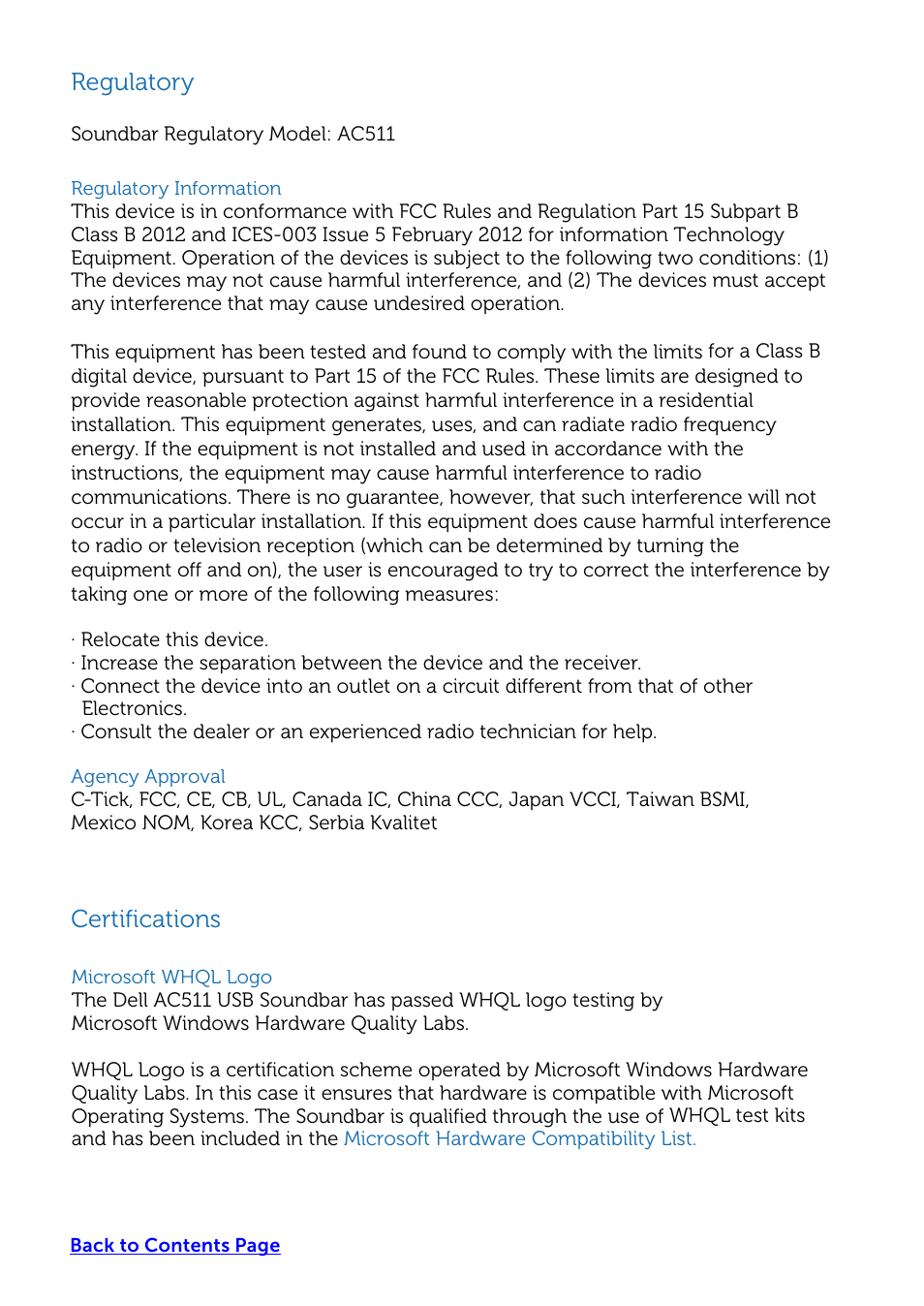 Regulatory Certifications Dell Usb Soundbar Ac511 User Manual