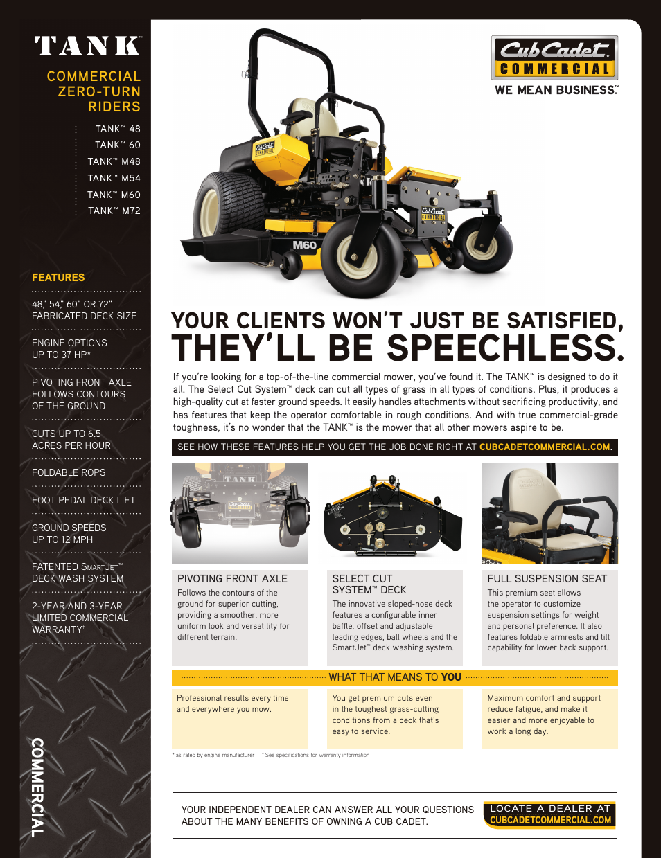 Cub Cadet TANK 48 User Manual | 4 pages | Also for: TANK 60, TANK M48, TANK  M72, TANK M54