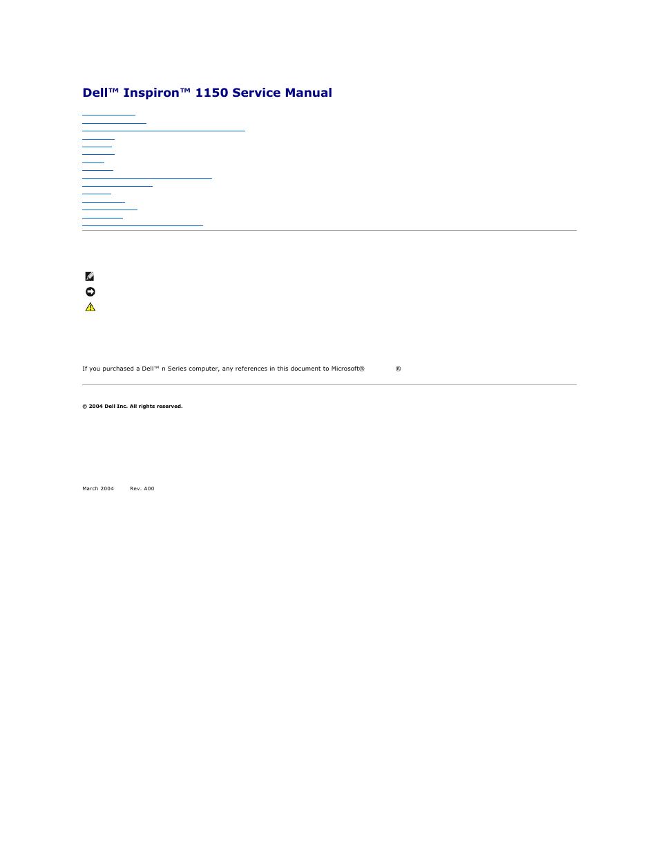 Dell Inspiron 1150 Service Manual Pdf