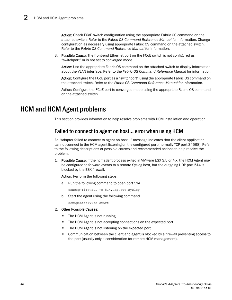 Hcm and hcm agent problems | Dell Brocade Adapters User