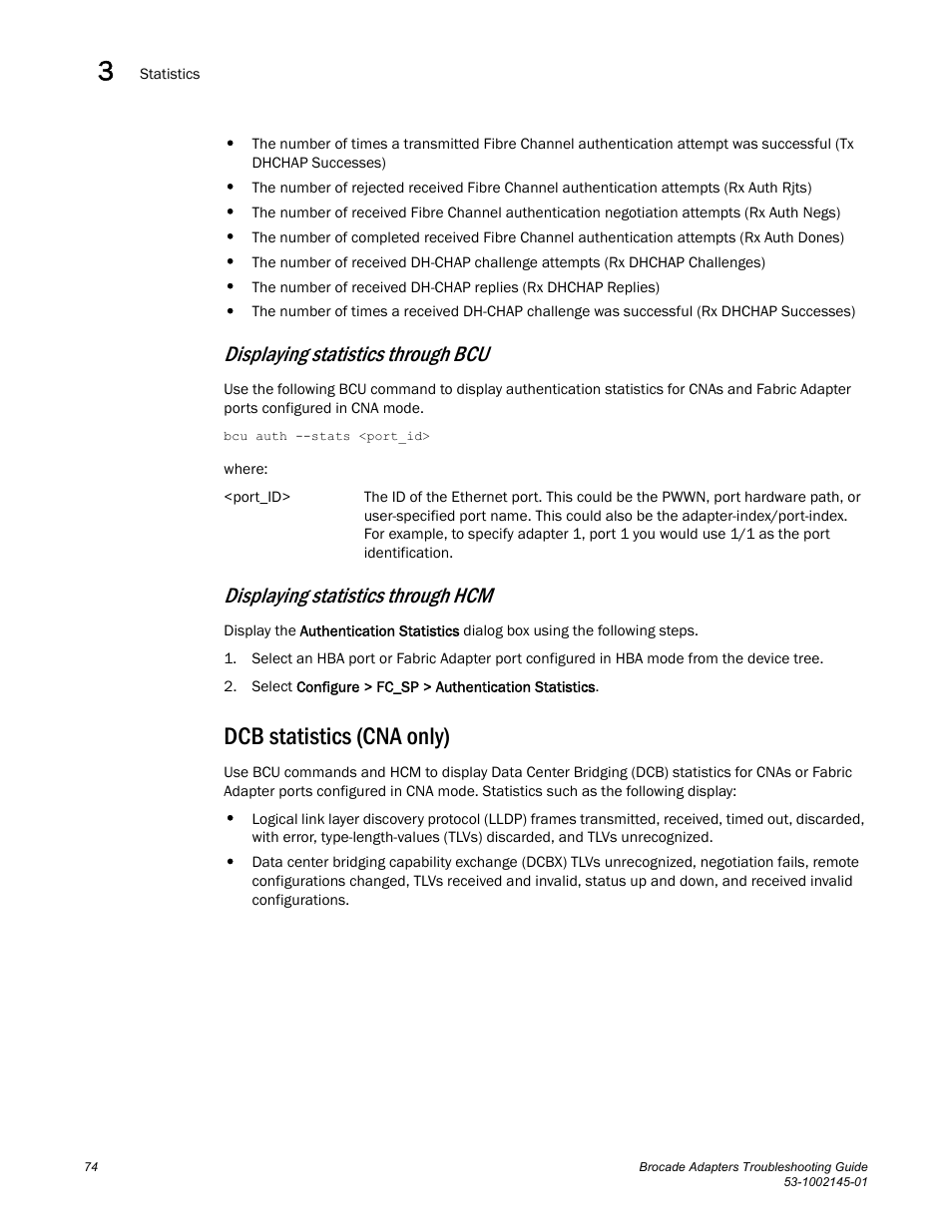 Dcb statistics (cna only), Displaying statistics through bcu