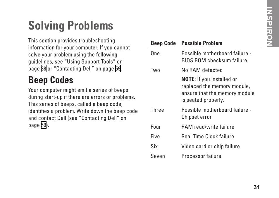 Solving problems, Beep codes, Inspiron | Dell Inspiron Zino