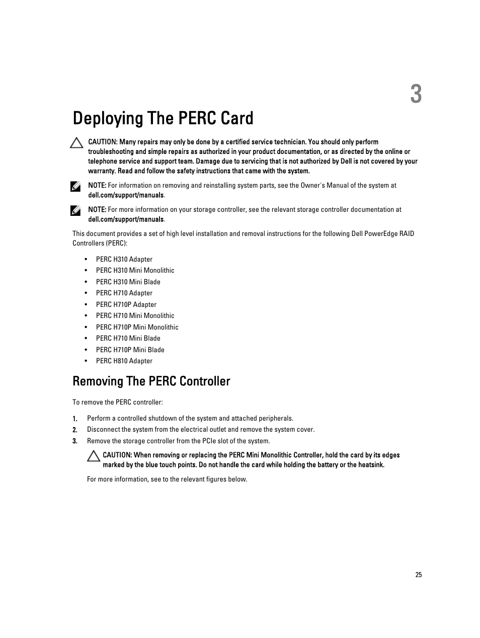 Deploying the perc card, Removing the perc controller, 3