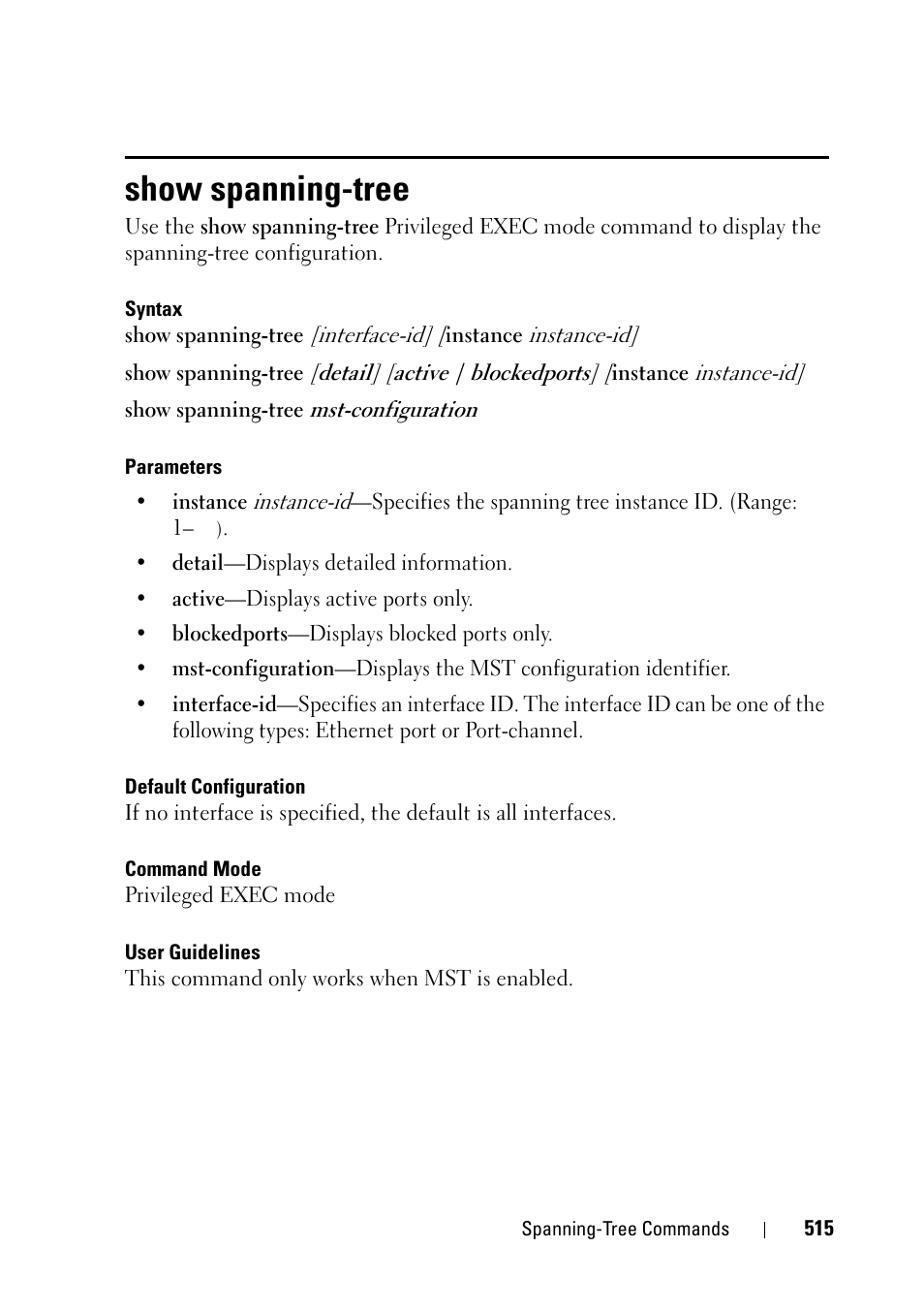Show spanning-tree | Dell PowerEdge VRTX User Manual | Page