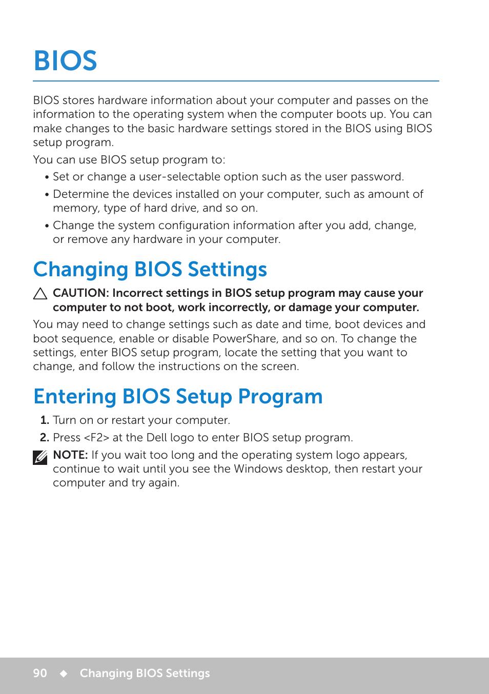 Bios, Changing bios settings, Entering bios setup program