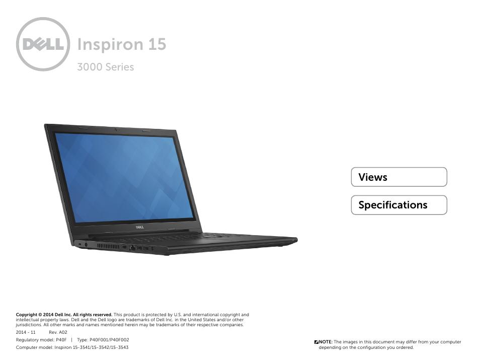 Dell Inspiron 15 (3543, Early 2015) User Manual | 22 pages