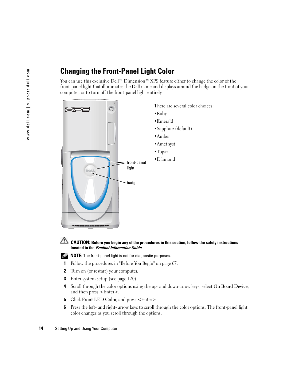 Changing the front-panel light color   Dell XPS/Dimension XPS Gen 4 User  Manual   Page 14 / 154