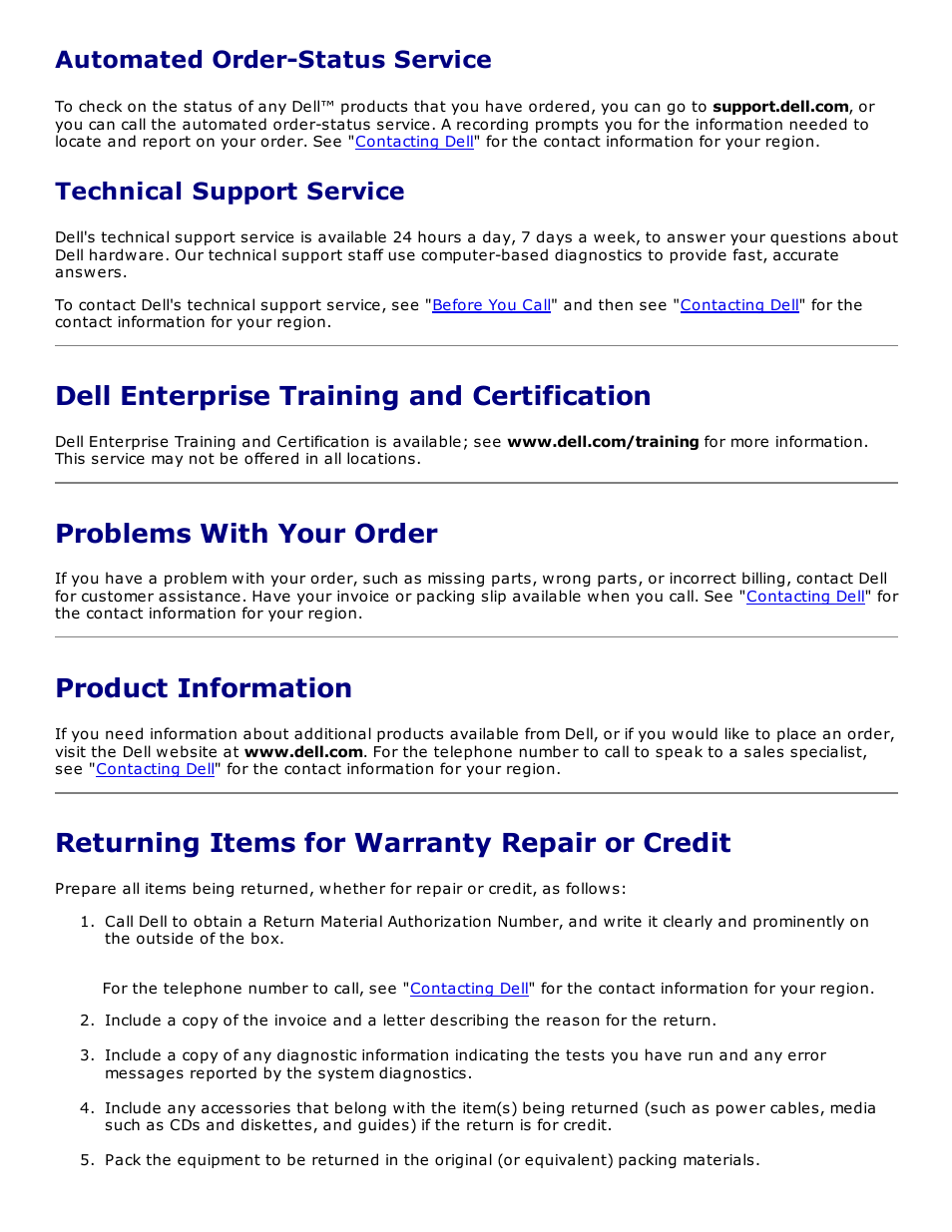 Dell enterprise training and certification, Problems with your order,  Product information | Returning items