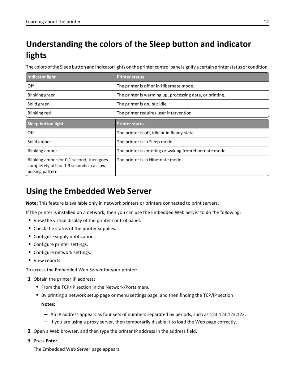 Using the embedded web server | Dell B2360dn Mono Laser Printer User