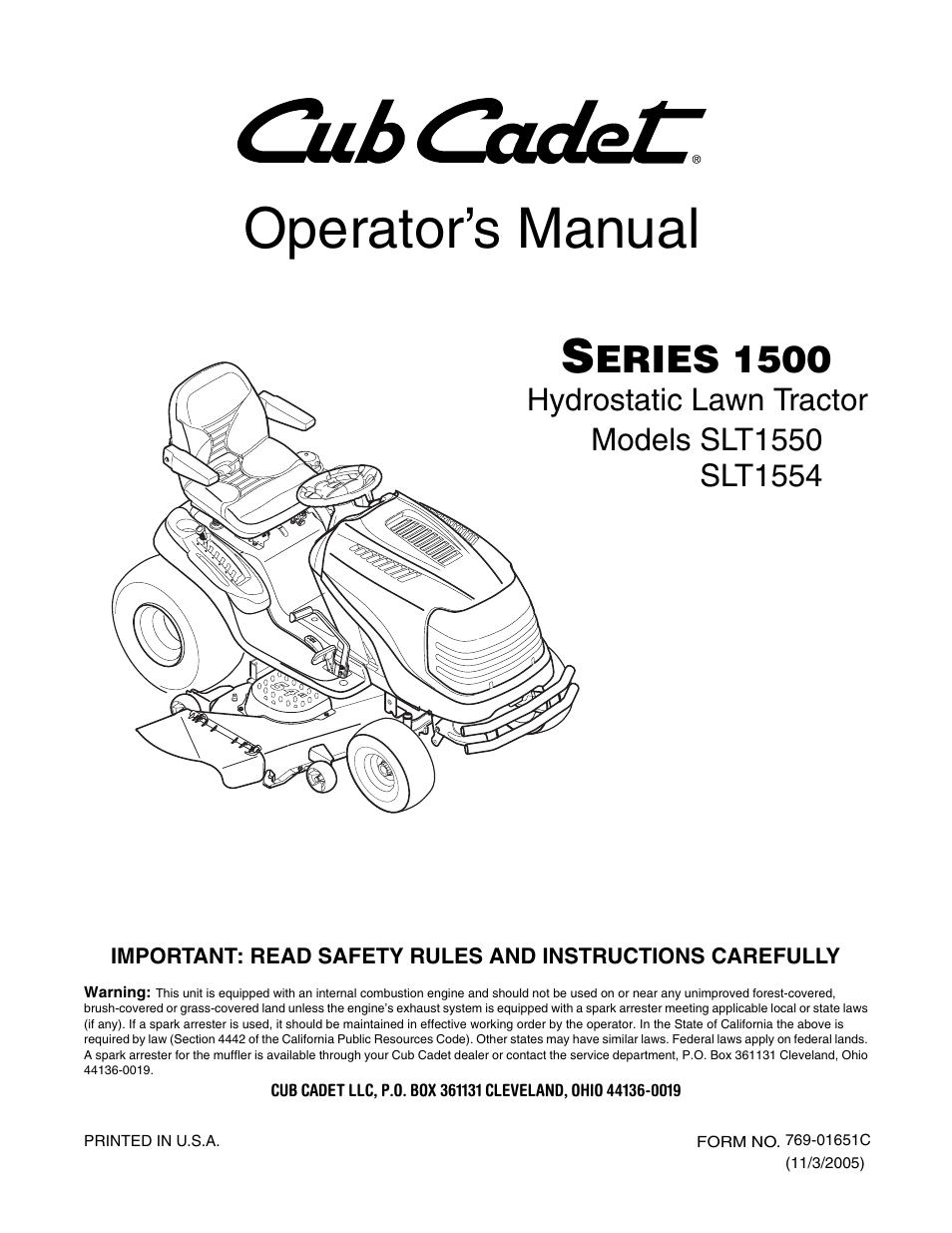cub cadet slt1554 user manual 40 pages also for slt1550 rh manualsdir com Cub Cadet 1554 Parts Diagram Cub Cadet SLT 1554 Steering