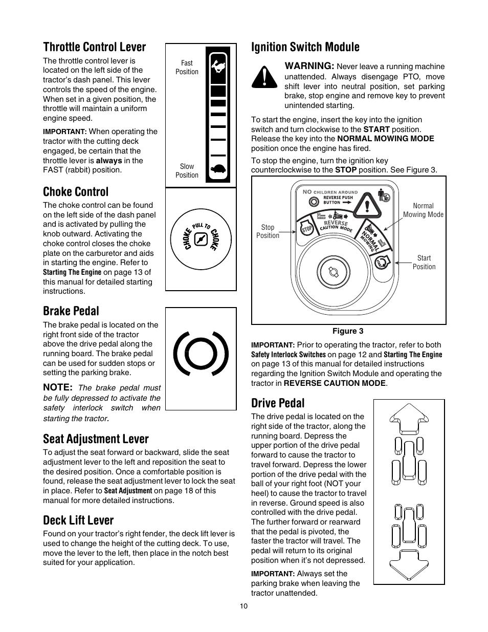 throttle control lever choke control brake pedal cub cadet rh manualsdir com cub cadet slt1554 repair manual Cub Cadet GT1554 Parts