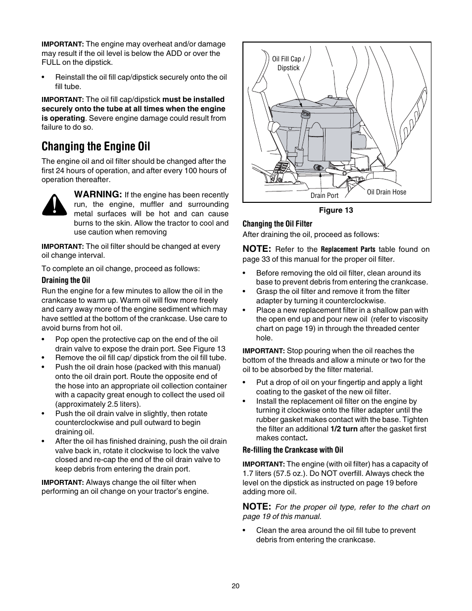 changing the engine oil cub cadet slt1554 user manual page 20 40 rh manualsdir com cub cadet slt 1554 parts manual Cub Cadet 1554 Parts Diagram
