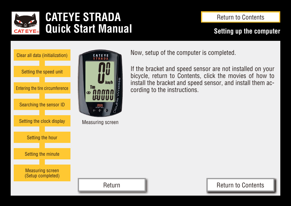 Cateye Strada Quick Start Manual Cateye Cc Rd400dw Strada Double
