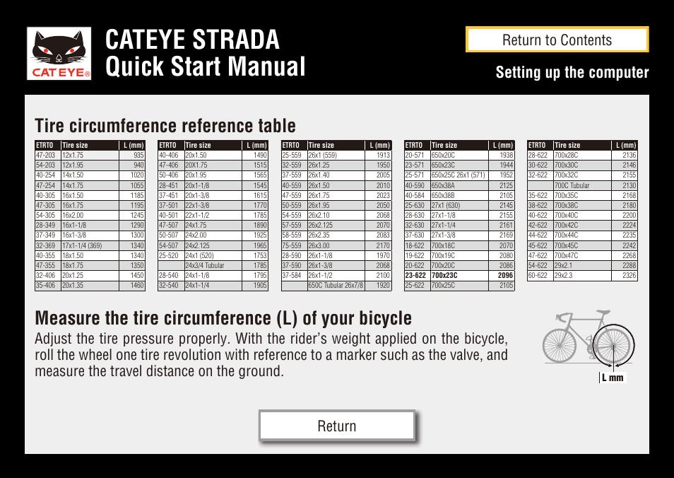 Cateye Strada Quick Start Manual Measure The Tire Circumference L