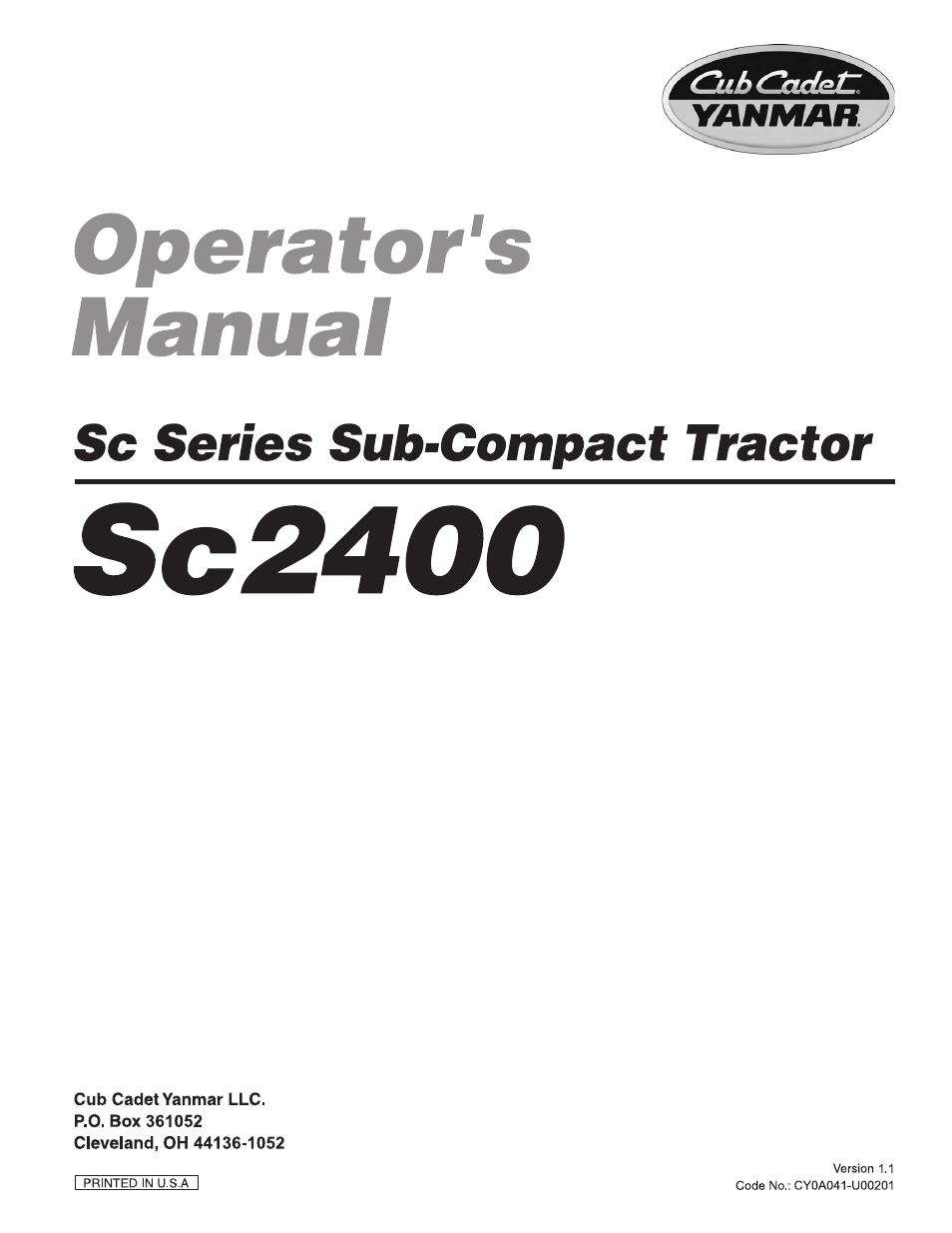cub cadet sc2400 user manual