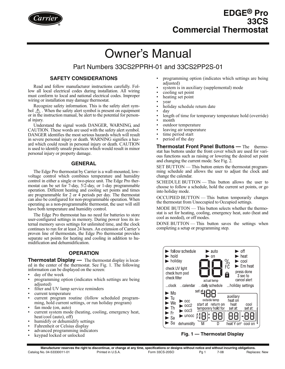 carrier commercial thermostat. carrier edge pro 33cs2pprh-01 user manual | 8 pages also for: 33cs2pp2s-01 commercial thermostat e