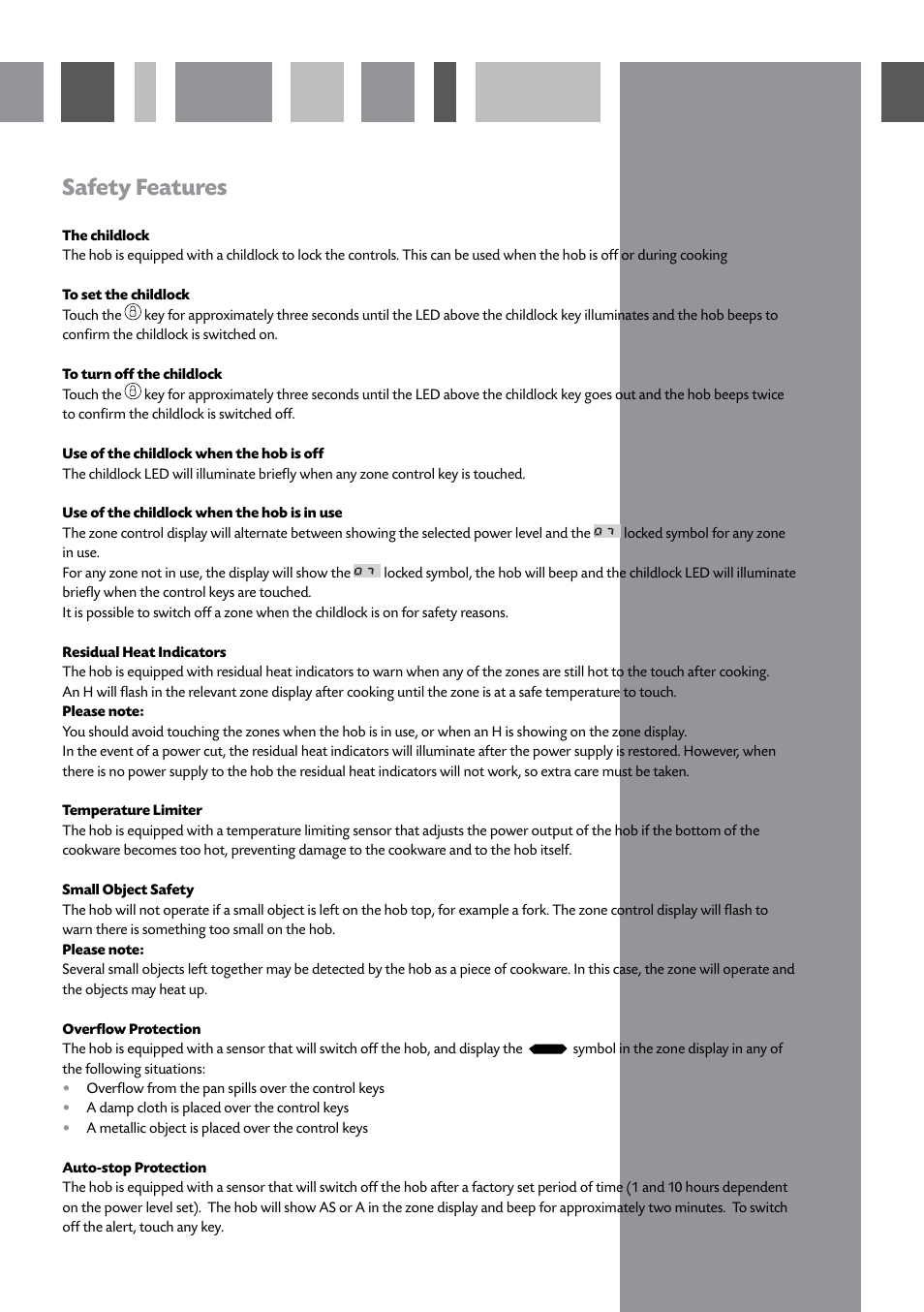 Safety features | CDA INDUCTION HOB HVN61/81 User Manual | Page 7 / 16