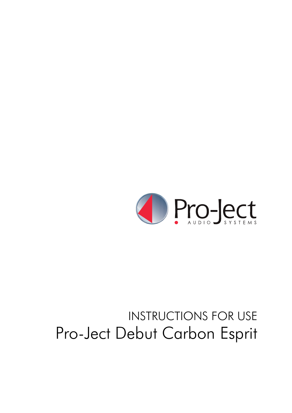 Pro-Ject Audio Systems Pro-Ject Debut Carbon Esprit (DC) User Manual | 8  pages