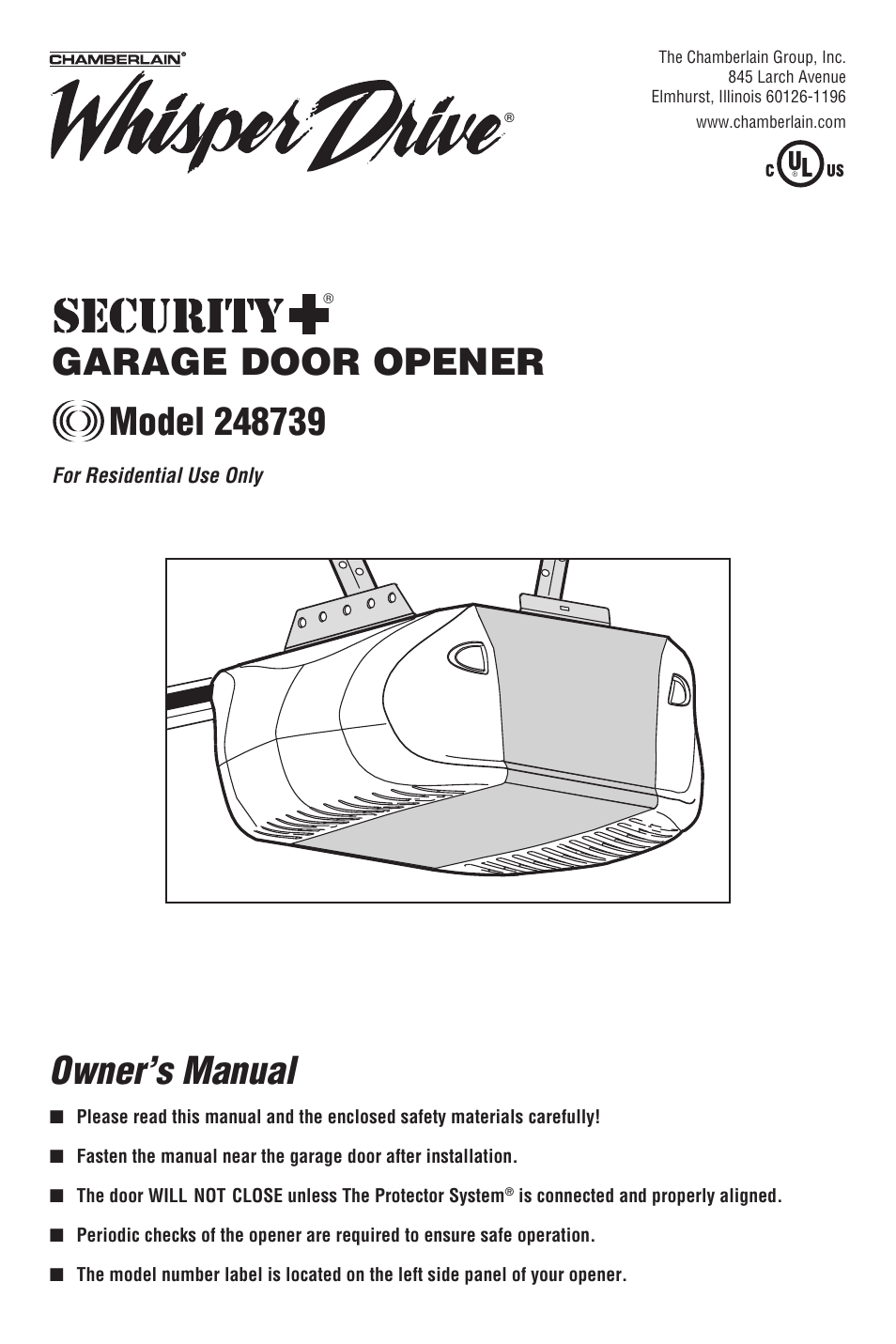 Chamberlain 248739 User Manual 44 Pages Garage Door Opener Wiring On Safety Diagram