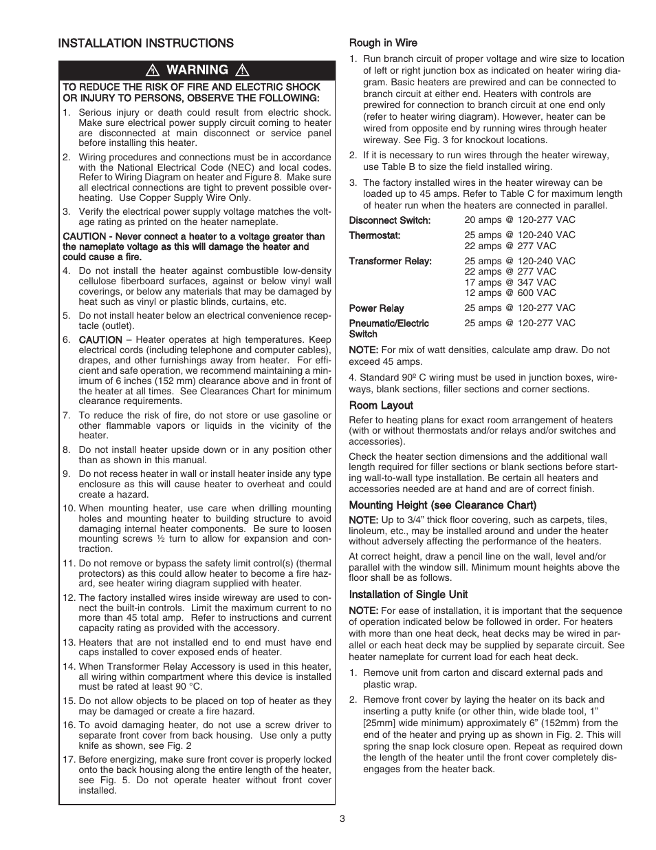 Qmark Dbsl Series Aluminum Convection Heaters User Manual Page 3 Heater Wiring Diagram 18