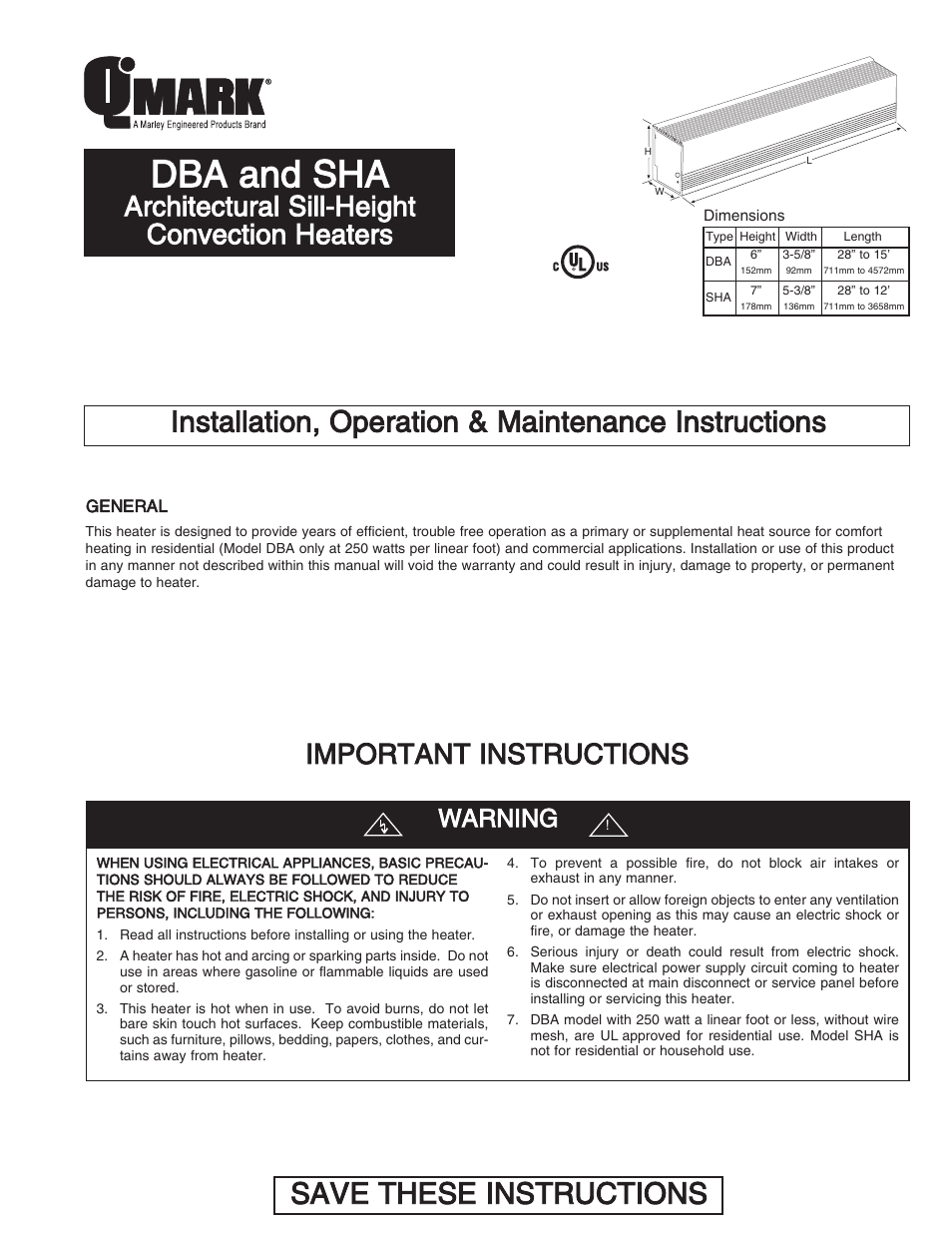 qmark dba architectural sill height convection heaters user manual rh manualsdir com O-Ring Installation Guide O-Ring Installation Guide