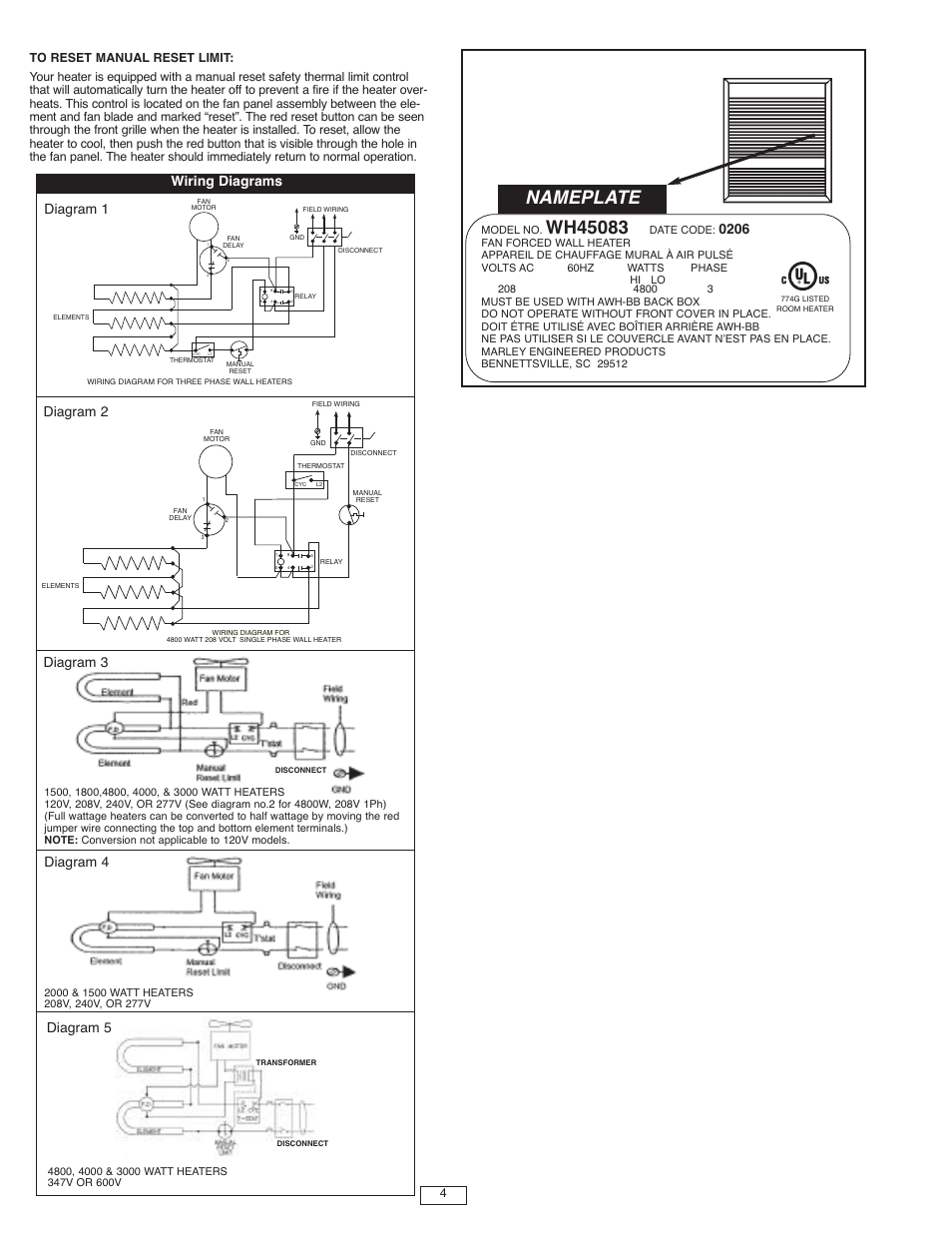 Nameplate Wiring Diagrams Qmark Awh4000 Series Architectural Heavy Duty Wall Heaters User Manual Page 4 15