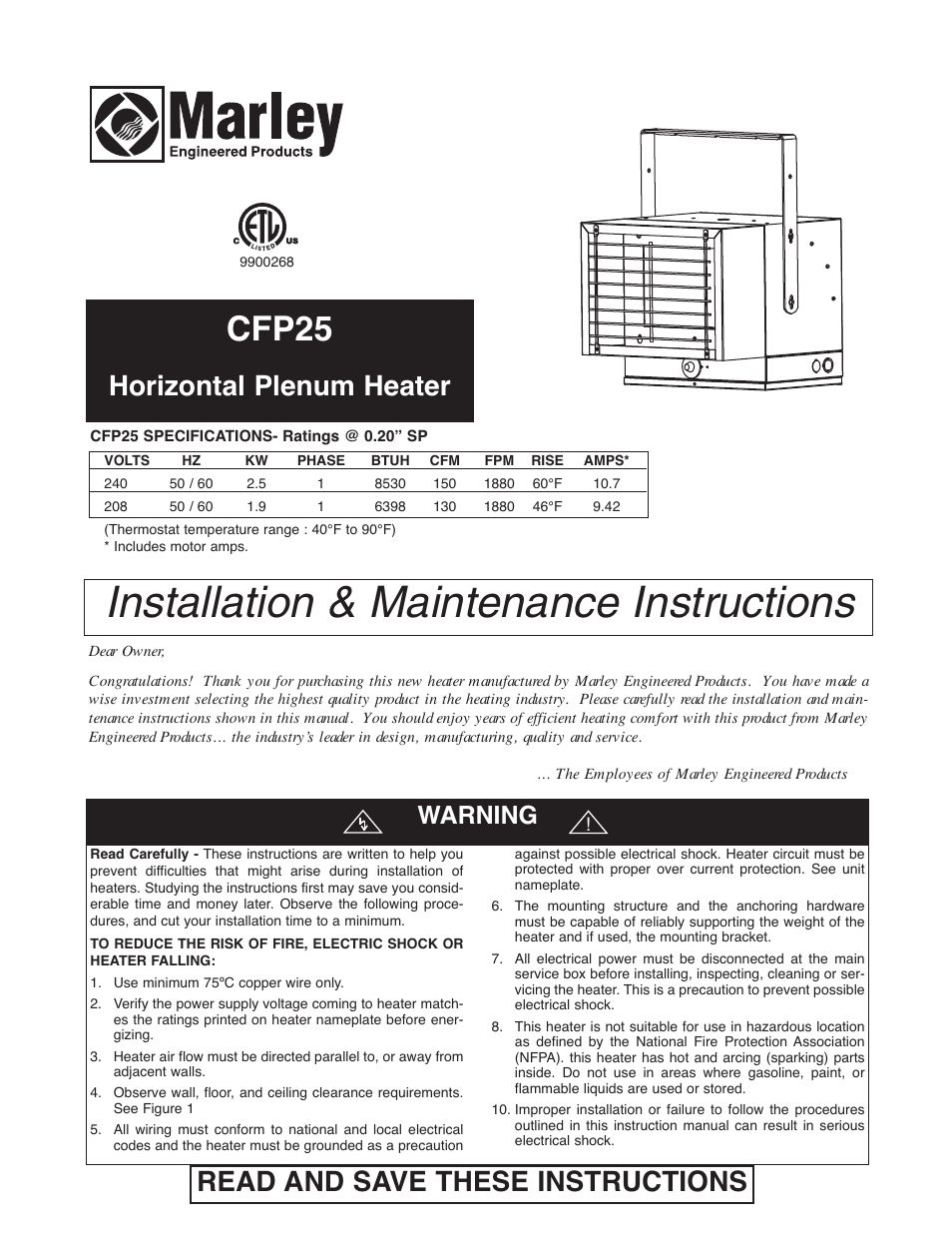 qmark chpr25 compact freeze protection heater user manual 12 pages rh manualsdir com